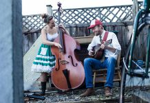 BC-based folk duo Chicken-Like Birds (Jasmin Frederickson and Ari Lantela) performs country blues, ragtime, and swing at The Garnet in Peterborough on Friday, September 1. (Photo: Kale Beaudry)