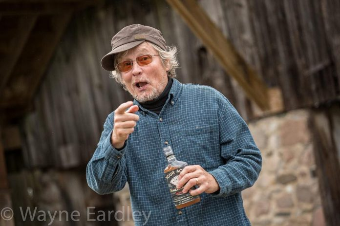 Writer and director Robert Winslow as his alter ego King, the town drunk, in The History of Drinking in Cavan at 4th Line Theatre until August 26. As well as history, comedy, and music, the play relates Robert's personal experience with alcoholism in his family. (Photo: Wayne Eardley)