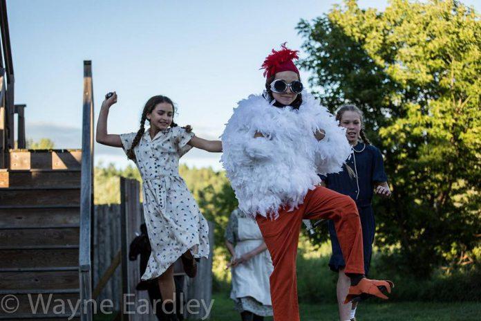 Emma Khaimovich as a chicken in a hilarious scene in The History of Drinking in Cavan. (Photo: Wayne Eardley)