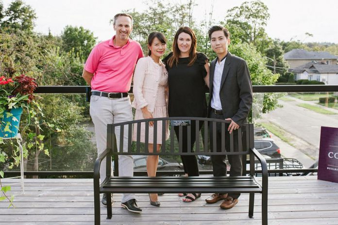 A memorial bench for the late Dr. Judith Buys at Cornerstone Family Dentistry. Pictured are Judith's husband Dr. James McGorman,  Cornerstone co-owner Dr. Anna Jo,  Cornerstone office manager Amanda Crowley, and  Cornerstone co-owner Dr. Jay Chun. (Photo by Tracey Allison of Tracey Allison Photography, a former Cornerstone employee.)