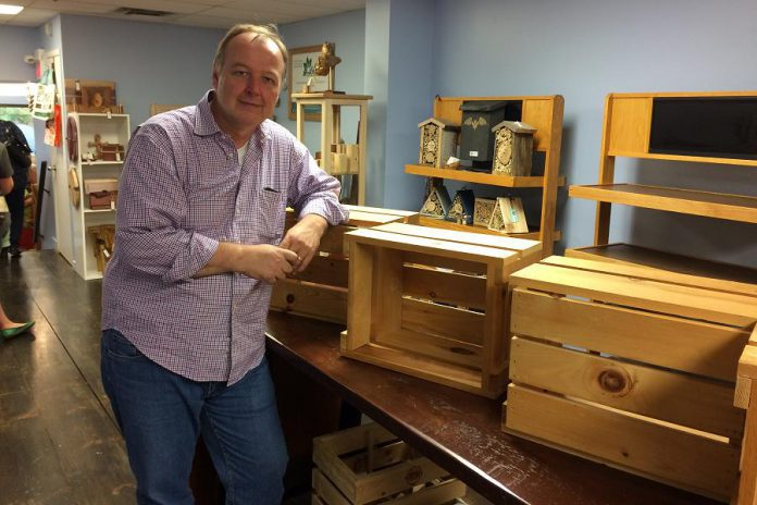 Rob Howard shows off the rentable retail spaces at Kawartha Local Marketplace. (Photo: Eva Fisher)
