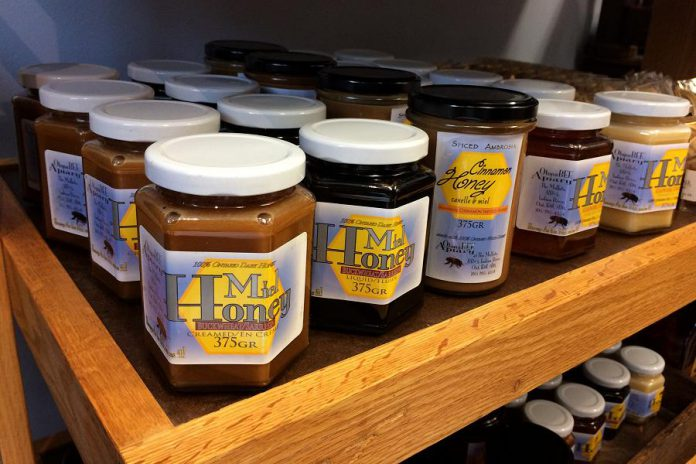 Kawartha Local Marketplace already sells a variety of food products including Otonabee Apiary honey. Rob recommends the cinnamon honey. (Photo: Eva Fisher)