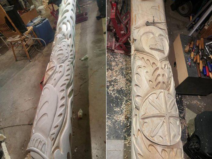 Nahrgang carved the 28-foot totem pole from a white cedar tree from the Peterborough area.