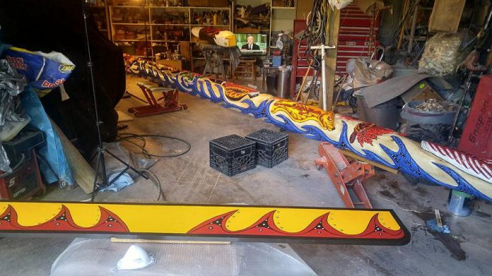 The 25-foot Unity Pole in progress in Nahrgan's studio.
