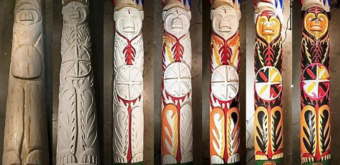 Time-lapse photographs showing the carving and painting of the Unity Pole.