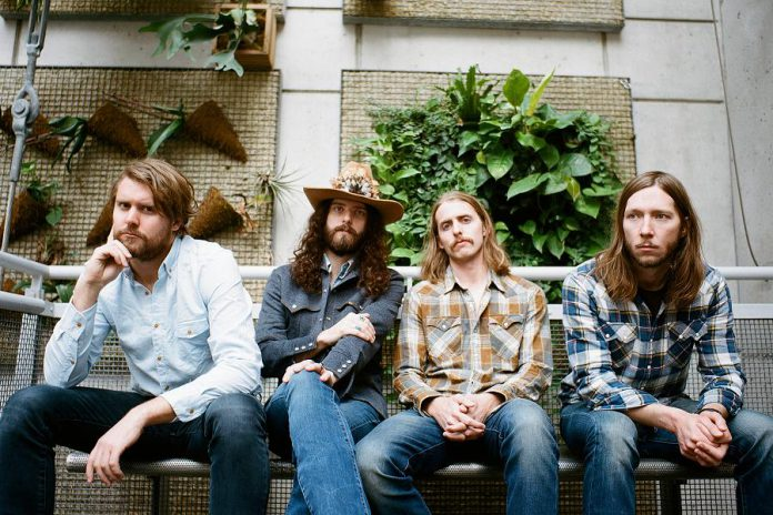 Ewan Currie, Ryan Gullen, Shamus Currie, and Sam Corbett of The Sheepdogs, who are performing at Peterborough Musicfest on August 16. Not pictured are Rusty Matyas and Jimmy Bowskill. (Photo: Vanessa Heins)