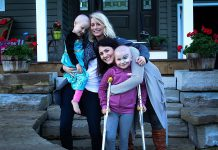 "Musician Melissa Payne and filmmaker Megan Murphy with their nieces Eliza and Neave, who were both diagnosed with cancer in the same year, along with Harrison McKinnon who passed away in June. Melissa and Megan are releasing the song and music video ""Strong Heart"" on September 1, 2017 to raise funds for SickKids Foundation during Childhood Cancer Awareness month. (Photo: Strong Hearts / Facebook)"