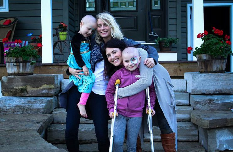 """Musician Melissa Payne and filmmaker Megan Murphy with their nieces Eliza and Neave, who were both diagnosed with cancer in the same year, along with Harrison McKinnon who passed away in June. Melissa and Megan are releasing the song and music video """"Strong Heart"""" on September 1, 2017 to raise funds for SickKids Foundation during Childhood Cancer Awareness month. (Photo: Strong Hearts / Facebook)"""