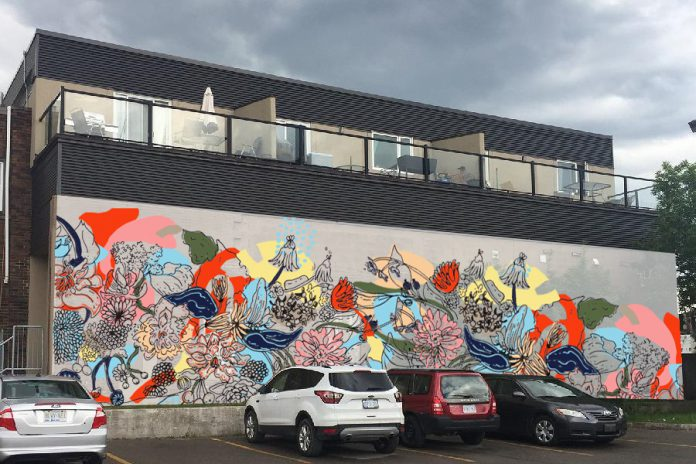 Mock-up of mural to be painted on the wall at 378 Aylmer Street facing the Greyhound Bus Terminal. (Image courtesy of Artspace)