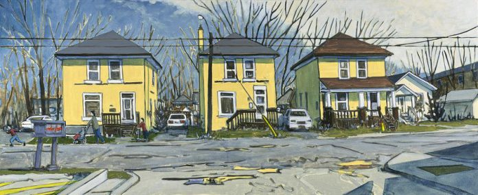 """April Day, Rink St., Peterborough"" (24""x60"", oil on canvas) by Peer Christensen. (Photo courtesy of Christensen Fine Art)"
