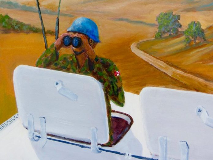 A detail from William Punt's painting of Canadian peacekeepers, who have been active in UN-sanctioned peacekeeping operations since 1956, thanks to Lester B. Pearson. (Photo courtesy of Kawartha Artists' Gallery and Studio)