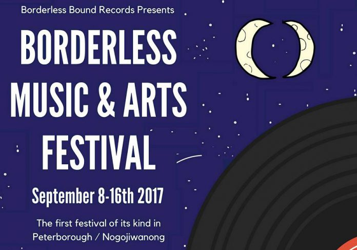 The Borderless Music & Arts Festival, Peterborough/Nogojiwanon's first feminist festival dedicated to community building and expanding worlds, takes place from September 8 to 16 at various venues in downtown Peterborough. For more information about the festival, visit https://www.facebook.com/events/163339580907876. (Poster: Borderless Bound Records)