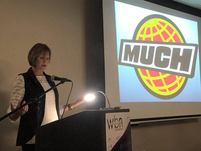 Denise Donlon, best known for her time as VJ, producer, and vice-president and general manager of MuchMusic, was the keynote speaker at the inaugural 2017-18 meeting of the Women's Business Network of Peterborough. (Photo: Meghan Moloney)