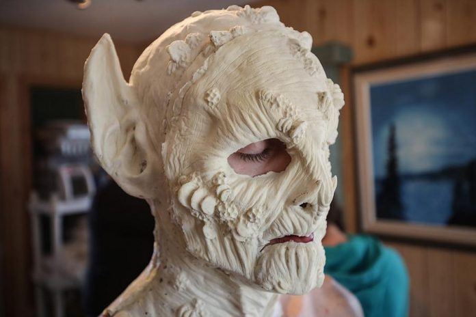 The almost-completed face of the creature. (Photo: Bokeh Collective)