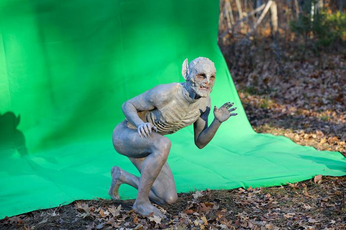 The completed creature in front of a green screen. Animation and visual effects for the film were created by Kerosene Studio. (Photo: Bokeh Collective)