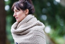 "Brooklyn Tweed is coming to Peterborough! The renowned wool manufacturer and design house, known for its yarns and top-quality detailed patterns, has chosen Needles in the Hay as a destination shop. Pictured is the ""Wallace Wrap"" from Brooklyn Tweed's new 2017 Fall Collection. It can be made for men and women as a scarf or wrap, using either the Quarry (chunky, pictured) or Arbor (doubleknit) yarns. (Photo: Brooklyn Tweed)"