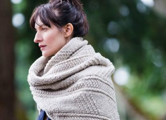 """Brooklyn Tweed is coming to Peterborough! The renowned wool manufacturer and design house, known for its yarns and top-quality detailed patterns, has chosen Needles in the Hay as a destination shop. Pictured is the """"Wallace Wrap"""" from Brooklyn Tweed's new 2017 Fall Collection. It can be made for men and women as a scarf or wrap, using either the Quarry (chunky, pictured) or Arbor (doubleknit) yarns. (Photo: Brooklyn Tweed)"""