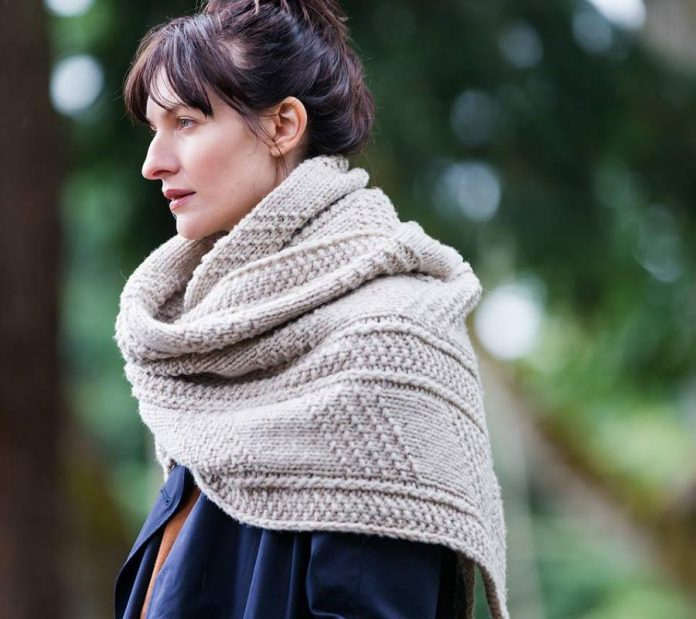 """Brooklyn Tweed has come to Peterborough! Pictured is the """"Wallace Wrap"""" from Brooklyn Tweed's new 2017 Fall Collection. It can be made for men and women as a scarf or wrap, using either the Quarry (chunky, pictured) or Arbor (doubleknit) yarns. (Photo: Brooklyn Tweed)"""