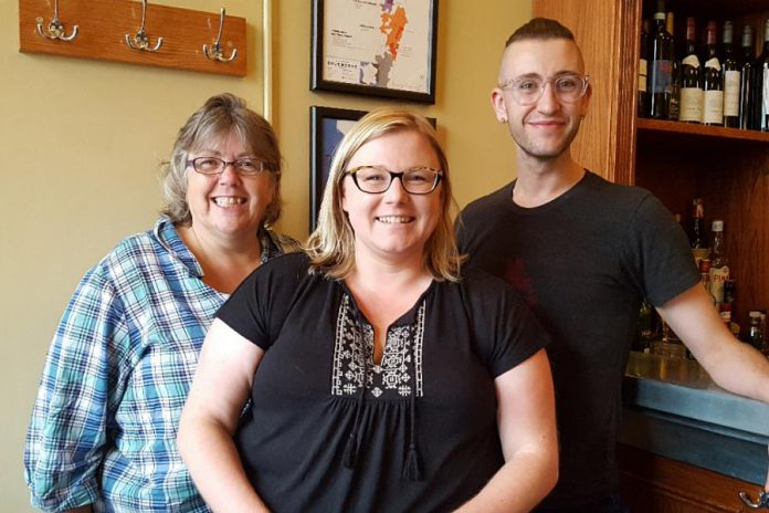 The team at Needles in the Hay (Grace Mahoney, owner Deanna Guttman, and Ethan Barclay-Ennew) are accomplished knitters and crocheters. They can provide expert advice from fibre arts to needle felting and wet felting, for customers with all levels of experience. (Photo: Needles in the Hay)