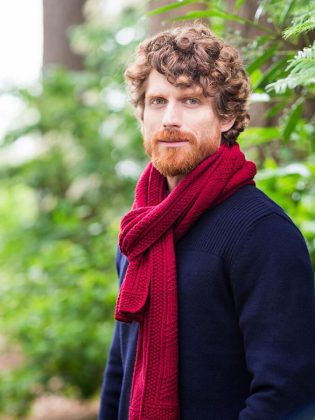 """The """"Wallace Wrap"""" scarf version, for men and women, shown in Arbor DK, colorway Vintner, from the newest Brooklyn Tweed 2017 Fall Collection. Needles in the Hay is one of only three shops in Ontario to carry the Brooklyn Tweed line. (Photo: Brooklyn Tweed)"""