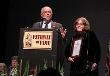 """David and Patricia Morton at the 20th annual Pathway of Fame induction ceremony at Showplace Performance Centre in Peterborough on September 9, 2017. The Mortons were inducted under a new """"Community Builder"""" category in recognition of their philanthropic contributions to various community projects. (Photo: Sean Bruce, Freelance Photographer)"""