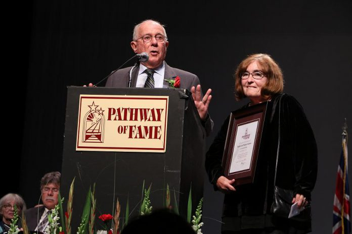 "David and Patricia Morton at the 20th annual Pathway of Fame induction ceremony at Showplace Performance Centre in Peterborough on September 9, 2017. The Mortons were inducted under a new ""Community Builder"" category in recognition of their philanthropic contributions to various community projects. (Photo: Sean Bruce, Freelance Photographer)"