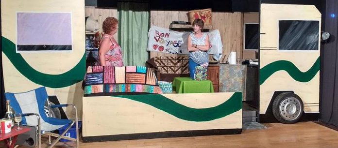 "Beth Harrington and Pam Brohm on the unique set in Lindsay Little Theatre's production of ""Peggy and Grace"" containing both the interior and exterior of the RV. (Photo: Sam Tweedle / kawarthaNOW)"