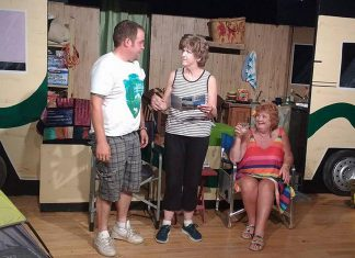 "Mike Crosmaz as Sam, Pam Brohm as Peggy, and Beth Harrington as Grace in Lindsay Little Theatre's production of ""Peggy and Grace"", running at the theatre in Lindsay on September 22, 23, 29, and 30. (Photo: Sam Tweedle / kawarthaNOW)"