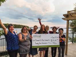 These seven local business owners receive a share of $25,000 in grant money from the second round of the Starter Company Plus program: Maureen Brand of Garden of Eden, Sarah Susnar of Play Cafe, Leah Frampton of Green Leaf Baby, Lynn Franscio of Elixir, Jane Davidson of Best Write Communications, Lisa Torres of Access Homeopathy, and Claudia Foung of iMake iMove. The announcement was made at a special event at Elmhirst's Resort near Keene on Thursday, September 14, 2017, hosted by Peterborough & the Kawarthas Economic Development's Business Advisory Centre, which administers the program funded by the Province of Ontario. (Photo: Tyler Wilson)