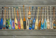A few of the more than 170 paddles submitted to Algonquin Outfitters for their Tom Thomson Paddle Art Contest. The paddles will be auctioned off with proceeds going to support local arts. (Photo: Algonquin Outfitters)