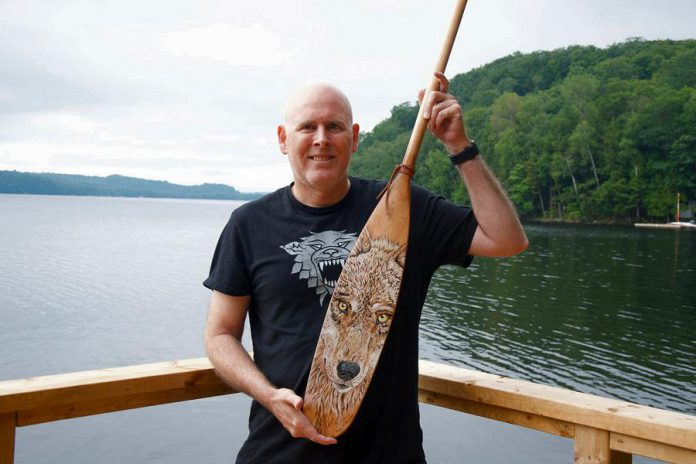 Peter McBurney with his wolf paddle. (Photo courtesy Peter McBurney)