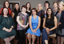The 2017-2018 Board of Directors of the Women's Business Network. From left to right: Tracey Ormond, Josée Kiss, Grace Reyonlds, Colleen Carruthers, Paula Kehoe, Lorie Gill, Shelley Barker, Lori McKee, Sana Virji, Karen Copson, and Mary McGee (not pictured: Diane Wolf).