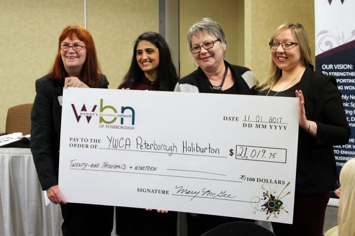 WBN supports the YWCA Crossroads Shelter through their annual fundraising gala and 50/50 draws. Last year, WBN members came together to raise $21,019.75 for the shelter -- an increase of more than $5,000 from the previous year. Pictured are YWCA  Executive Director Lynn Zimmer (left) and Special Events Coordinator Nicole Pare (right) accepting the cheque from WBN Program Directors Sana Virji and Louise Racine. (Photo: WBN)