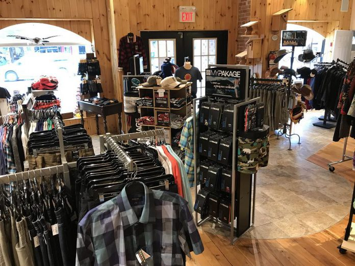 The menswear section at The Kawartha Store features Lois jeans, Viyella shirts, Mypakage underwear, and more.
