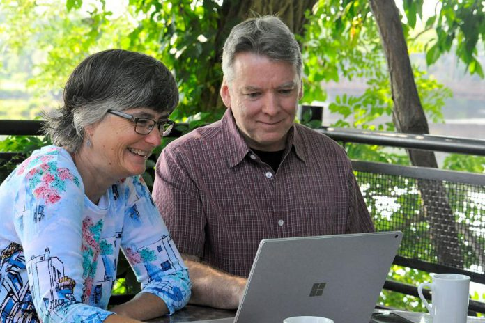 Carrie Wakeford and Pat Kenney are business and life partners in Black Cap Design, a full-service web development firm in Peterborough. (Photo: Jeanne Pengelly / kawarthaNOW)