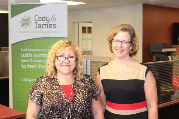 Suzanne Cody and Gwyneth James of Cody & James CPAs, a full-service accounting firm located at 260 Milroy Drive in Peterborough. (Photo: Samantha Moss / MossWorks)