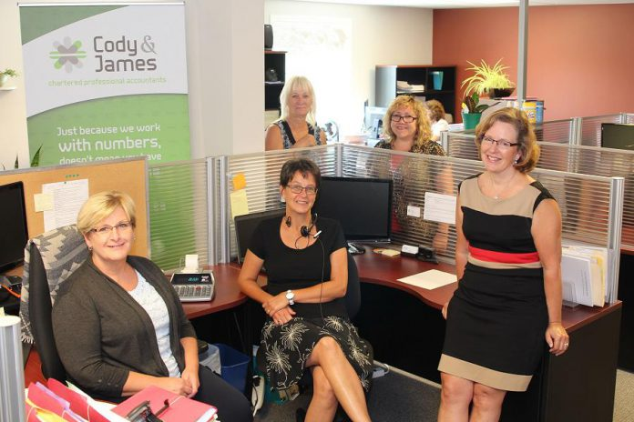 Suzanne Cody and Gwyneth James with some of their team at Cody & James CPAs, a full-service accounting firm for individuals and all sizes of businesses. (Photo: Samantha Moss / MossWorks)