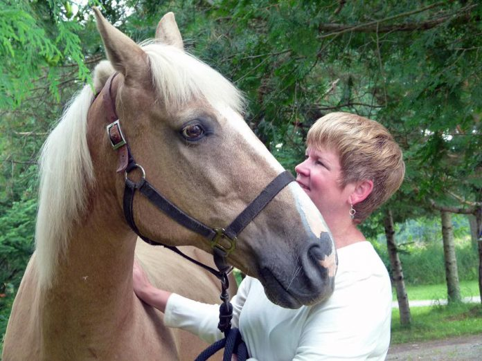 Sunny the horse with Jennifer Garland, owner and program director of The Mane Intent, which uses facilitated equine experiential learning to help teams, families, and individuals uncover their potential. (Photo: The Mane Intent)