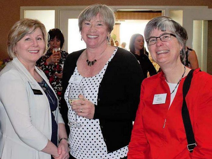 Members of the Women's Business Network of Peterborough, including Catherine Dewar (Investors Group Financial Services Inc.), Karen August (Greater Peterborough Chamber of Commerce), and Carrie Wakeford (Black Cap Design), explain what the networking organization means to them. (Photo: WBN)