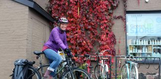 Jaime Akiyama, GreenUP Coordinator of Transportation Programs, is an avid fall cyclist who believes that you do not need special gear to extend your cycling season. Staying warm on your bike in fall means layering up and adding a few specific items to stay warm such as wool socks, gloves, and a scarf or Buff to keep your neck and ears warm. (Photo: Karen Halley)