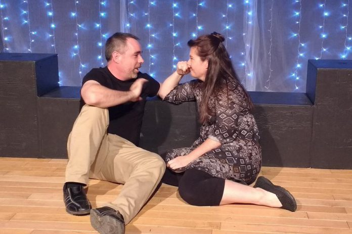 As Roland and Marianne, actors Seamus McCann and Miranda Warren had to memorize 47 different scenes portraying the different realities created by the choices the characters make. (Photo: Sam Tweedle / kawarthaNOW.com)