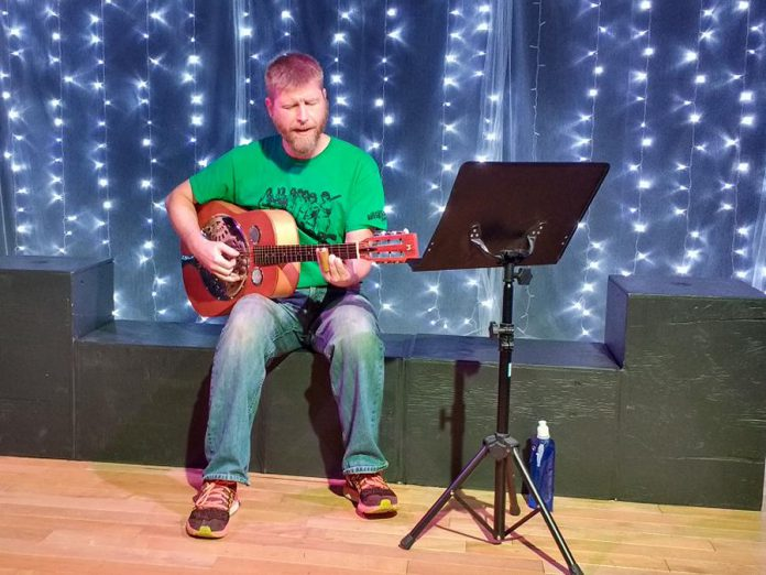 "Prior to the performance of the play ""Constellations"", Lindsay Little Theatre presents a mini-concert featuring musician Andrew ""Stubs"" Bane playing one-finger blues.  Your ticket to the show also includes appetizers and a complimentary drink ticket.  (Photo: Sam Tweedle / kawarthaNOW.com)"