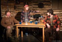 "Nathan Govier as Wayne, Lindsay Unterlander as Becky, and Kelsey Gordon Powell as Roger in Planet 12 Productions' ""Incident On Gun Mountain"", about a trio of deer hunters in the early 1970s who endure a descent into guilt, paranoia, terror, and the fantastic. (Photo: Andy Carroll)"
