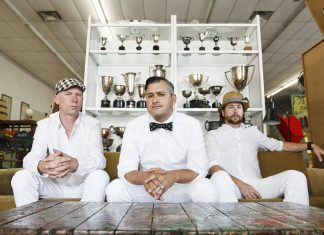"Alt-country band Elliott Brood (Stephen Pitkin, Mark Sasso, and Casey Laforet), who released their latest record ""Ghost Gardens"" this fall, performs at The Historic Red Dog Tavern in downtown Peterborough on Saturday, October 21. (Publicity photo)"