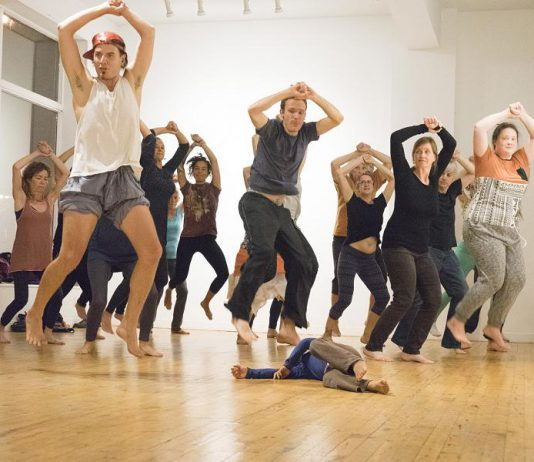 "Over the past six weeks, performance artist Brian Solomon has been working with community members and professional dance artists to choreograph ""Nogojiwanong Rite of Spring"", an Indigenous re-envisioning of the 1913 avant-garde ochestral ballet by Igor Stravinsky. The free community dance performance, with Stravinsky's original score re-imagined and performed by Indigenous musician Melody McKiver, takes place October 19 and 20 at an Anishinaabe burial site in downtown Peterborough. (Photo: Public Energy)"
