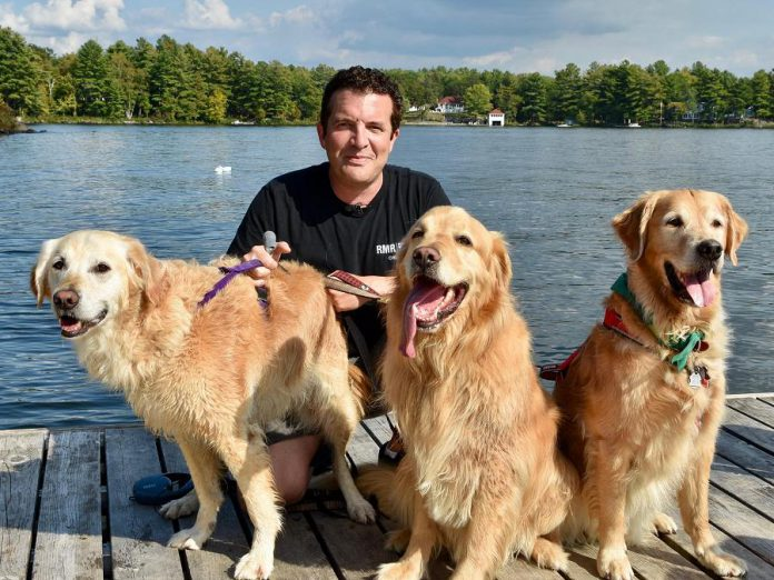 Rick Mercer was at Viamede Resort at Stoney Lake this past September for the Golden Rescue Picnic, which was featured in the October 10, 2017 episode of CBC Televisions Rick Mercer Report. (Photo: Rick Mercer Report / Facebook)