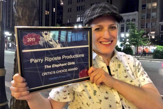"Margo MacDonald displaying her Critic's Choice Award for ""The Elephant Girls"" from Hamilton Fringe 2017. (Photo: Margo MacDonald)"