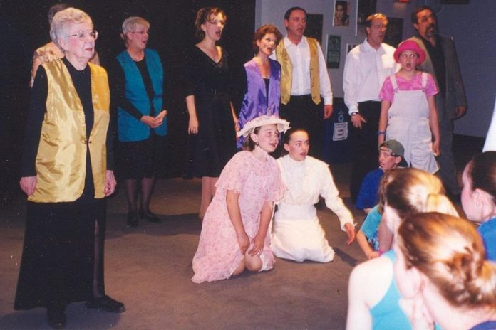The cast from Spring Tonic 2002 ... Celebrating Five Years! rehearsing one of the chorus numbers. That show was a recapturing of entertainment during the first five years of Spring Tonic, and Tonic @ Twenty captures what has happened at the building housing Showplace since it first opened as Odeon Theatre in 1947. (Photo courtesy of Beth McMaster)