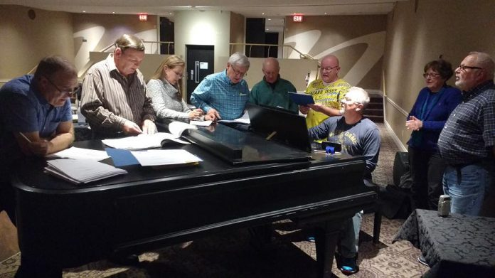 "Some of the cast of ""Tonic @ Twenty"", which runs on October 28 and 29 at Showplace Performance Centre, during a rehearsal: Robert Ainsworth, Wayne Robinson, Connie Burton, Roy Braun, Dick Plant, Darcy Mundle, Danny Bronson, Beth McMaster, and Len Lifchus. (Photo: Sam Tweedle / kawarthaNOW.com)"