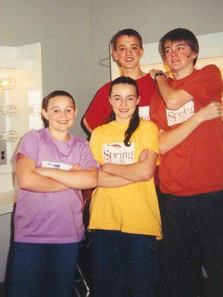 "Jonathan and Stephen Cullen with Laura and Kate McLeod at Spring Tonic 2002 ... Celebrating Five Years!. The four performed several numbers including ""The Bare Necessities"" and ""Let There be Peace on Earth"". (Photo courtesy of Beth McMaster)"
